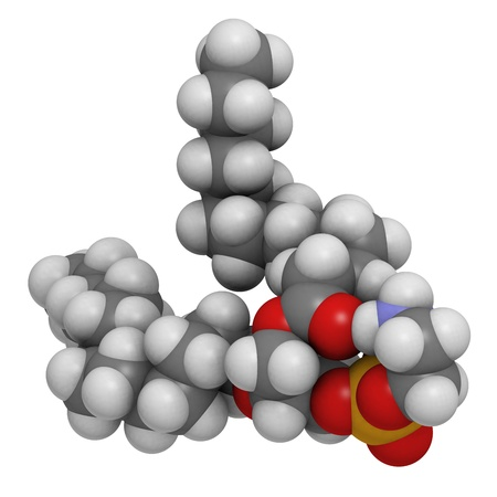 lipoprotein: Phosphatidylethanolamine (PE) cell membrane building block, molecular model. PE is also important in blood clotting (coagulation). Atoms are represented as spheres with conventional color coding: hydrogen (white), carbon (grey), oxygen (red), nitrogen (bl Stock Photo