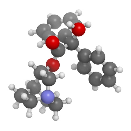 anticholinergic: Quinuclidinyl benzilate (QNB, EA-2277, BZ) military incapacitating agent, molecular model. Atoms are represented as spheres with conventional color coding: hydrogen (white), carbon (grey), oxygen (red), nitrogen (blue)