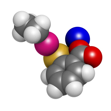 preservative: Thiomersal (thimerosal) vaccine preservative, molecular model. Atoms are represented as spheres with conventional color coding: hydrogen (white), carbon (grey), oxygen (red), sodium (blue), mercury (pink), sulfur (yellow) Stock Photo