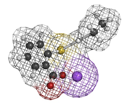 preservative: Thiomersal (thimerosal) vaccine preservative, molecular model. Atoms are represented as spheres with conventional color coding: hydrogen (white), carbon (grey), oxygen (red), sodium (purple), mercury (grey), sulfur (yellow)