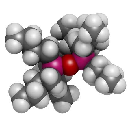 살균제: 트리 부틸 주석 산화물 (TBTO, 유기 주석) 목재 방부제, 분자 모델. 수소 (흰색), 탄소 (회색), 산소 (적색), 주석 (핑크) : 원자는 기존의 컬러 코딩 분야로 표시됩니다.
