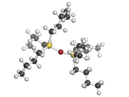 preservative: tributyltin oxide (TBTO, organotin) wood preservative, molecular model. Atoms are represented as spheres with conventional color coding: hydrogen (white), carbon (grey), oxygen (red), tin (yellow). Stock Photo