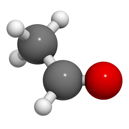Acetaldehyde (ethanal) molecule, chemical structure. Acetaldehyde is a toxic molecule responsible for many symptoms of alcohol hangover. Atoms are represented as spheres with conventional color coding: hydrogen (white), carbon (grey), oxygen (red) Stock Photo - 18947365