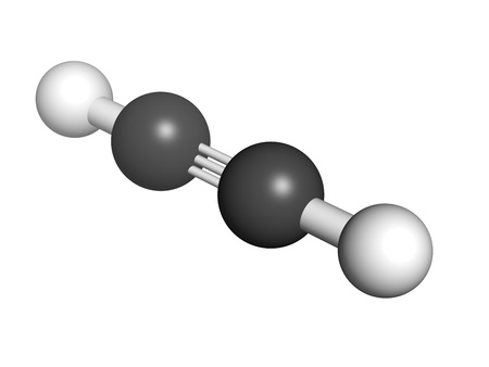 acetylene: Acetylene (ethyne) gas welding fuel, molecular model. Atoms are represented as spheres with conventional color coding: hydrogen (white), carbon (grey)