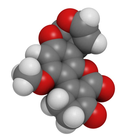 Aflatoxin B1 carcinogenic food contaminant molecule, chemical structure. Atoms are represented as spheres with conventional color coding: hydrogen (white), carbon (grey), oxygen (red) Stock Photo - 18947432