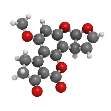 Aflatoxin B1 carcinogenic food contaminant molecule, chemical structure. Atoms are represented as spheres with conventional color coding: hydrogen (white), carbon (grey), oxygen (red) Stock Photo - 18947423