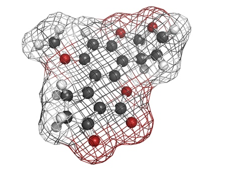 Aflatoxin B1 carcinogenic food contaminant molecule, chemical structure. Atoms are represented as spheres with conventional color coding: hydrogen (white), carbon (grey), oxygen (red) Stock Photo - 18947497
