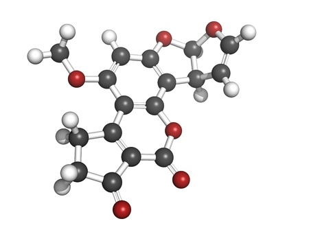 Aflatoxin B1 carcinogenic food contaminant molecule, chemical structure. Atoms are represented as spheres with conventional color coding: hydrogen (white), carbon (grey), oxygen (red) Stock Photo - 18947349