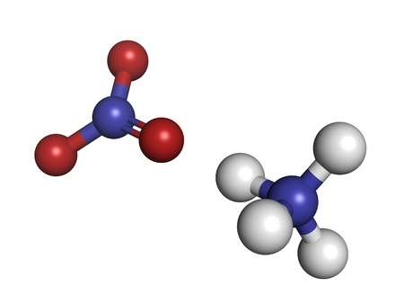 nitrate: Ammonium nitrate fertilizer, molecular model. Ammonium nitrate is also used in explosive mixtures. Atoms are represented as spheres with conventional color coding: hydrogen (white), oxygen (red), nitrogen (blue)