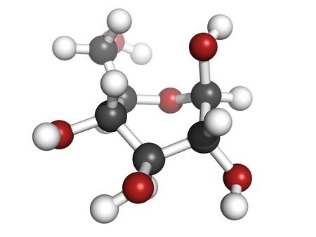 Glucose (beta-D-Glucose, Traubenzucker, Dextrose)-Molekül, die chemische Struktur. Atome sind als Kugeln mit herkömmlichen Farbcodierung repräsentiert: Wasserstoff (weiß), Kohlenstoff (grau), Sauerstoff (rot) Standard-Bild - 18947350