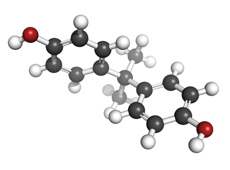 Bisphenol A (BPA) plastic pollutant molecule, chemical structure. BPA is a chemical often present in polycarbonate plastics that has estrogen disrupting effects. Atoms are represented as spheres with conventional color coding: hydrogen (white), carbon (gr Stock Photo - 18947358
