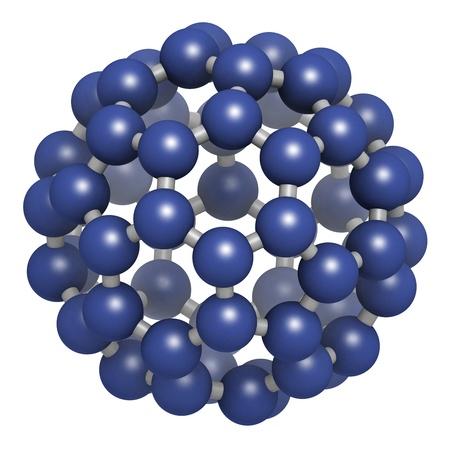 allotrope: Buckminsterfullerene (buckyball, C60), molecular model. Atoms are represented as spheres  Stock Photo