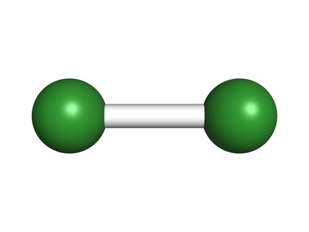 elemental: Elemental chlorine (Cl2), molecular model. Atoms are represented as spheres with conventional color coding: chlorine (green) Stock Photo