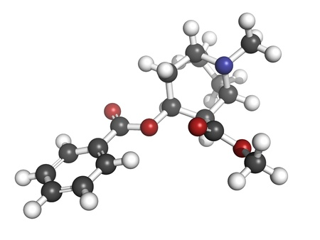 Cocaine drug, molecular model. Atoms are represented as spheres with conventional color coding: hydrogen (white), carbon (grey), oxygen (red), nitrogen (blue) photo