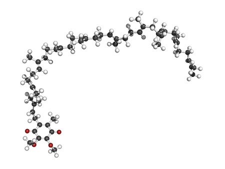 Coenzyme Q10 (ubiquinone) molecule, chemical structure. Coenzyme Q10 plays an essential role in the production of cellular energy and has antioxidant properties. Atoms are represented as spheres with conventional color coding: hydrogen (white), carbon (gr Stock Photo - 18947345