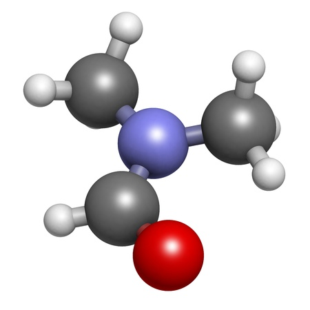 dimethylformamide (DMF) solvent molecule, chemical structure. DMF is a commonly used solvent in chemistry. Atoms are represented as spheres with conventional color coding: hydrogen (white), carbon (grey), oxygen (red), nitrogen (blue) Stock Photo - 18947399