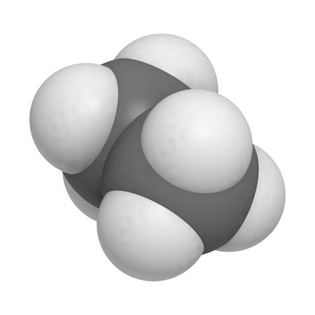 conformation: etano componente del gas natural, modelo molecular. Los �tomos se representan como esferas con codificaci�n de color convencionales: hidr�geno (blanco), carbono (gris)