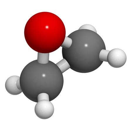 살균제: 에틸렌 옥사이드 (옥시 란), 분자 모델. 에틸렌은 단순한 에폭시이고 살균제 및 중합체 전구체로서 사용된다. 수소 (흰색), 탄소 (회색), 산소 (적색) : 원자는 기존의 색상 코드와 구체로 표현된다