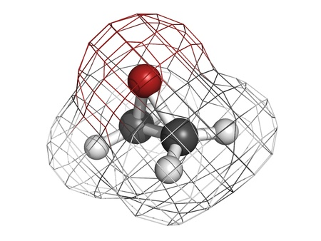 simplest: Ethylene oxide (oxirane), molecular model. Ethylene is the simplest epoxide and is used as a disinfectant and polymer precursor. Atoms are represented as spheres with conventional color coding: hydrogen (white), carbon (grey), oxygen (red)