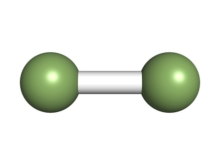 elemental: Elemental fluorine (F2), molecular model. Atoms are represented as spheres with custom color coding: fluorine (green)