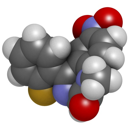 flunitrazepam benzodiazepine drug, molecular model. Atoms are represented as spheres with conventional color coding: hydrogen (white), carbon (grey), oxygen (red), nitrogen (blue), fluorine (gold) Stock Photo - 18947437