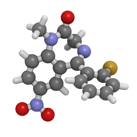flunitrazepam benzodiazepine drug, molecular model. Atoms are represented as spheres with conventional color coding: hydrogen (white), carbon (grey), oxygen (red), nitrogen (blue), fluorine (gold) Stock Photo - 18947418