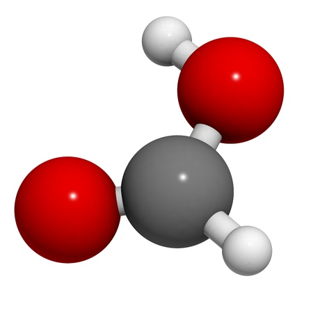 limescale: Formic acid ant sting chemical, molecular model. Atoms are represented as spheres with conventional color coding: hydrogen (white), carbon (grey), oxygen (red)