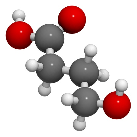 gamma-hydroxybutyric acid (GHB, liquid XTC) drug, molecular model. Atoms are represented as spheres with conventional color coding: hydrogen (white), carbon (grey), oxygen (red) Stock Photo - 18947405