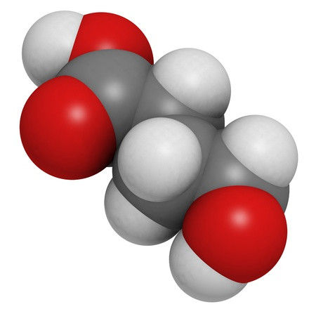 gamma-hydroxybutyric acid (GHB, liquid XTC) drug, molecular model. Atoms are represented as spheres with conventional color coding: hydrogen (white), carbon (grey), oxygen (red) Stock Photo - 18947421