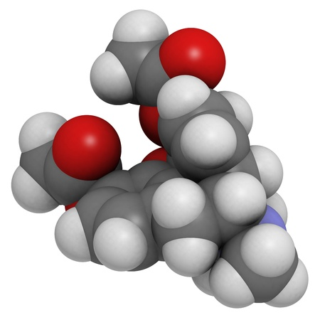 heroin (diacetylmorphine) narcotic drug, molecular model. Atoms are represented as spheres with conventional color coding: hydrogen (white), carbon (grey), oxygen (red), nitrogen (blue) Stock Photo - 18947440