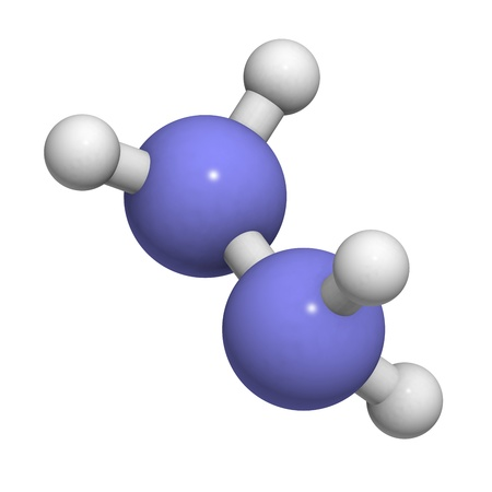 propellant: Hydrazine (diazane) rocket fuel component, molecular model. Atoms are represented as spheres with conventional color coding: hydrogen (white), nitrogen (blue) Stock Photo