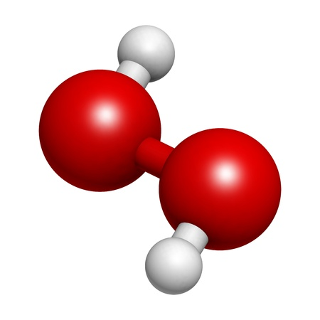 molekuul: Hydrogen peroxide (H2O2) molecule, chemical structure. HOOH is an example of a reactive oxygen species (ROS). H2O2 solutions are often used in bleach and cleaning agents. Atoms are represented as spheres with conventional color coding: hydrogen (white), o Stock Photo