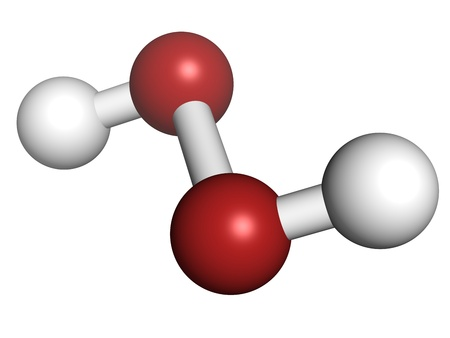 Hydrogen peroxide (H2O2) molecule, chemical structure. HOOH is an example of a reactive oxygen species (ROS). H2O2 solutions are often used in bleach and cleaning agents. Atoms are represented as spheres with conventional color coding: hydrogen (white), o Stockfoto