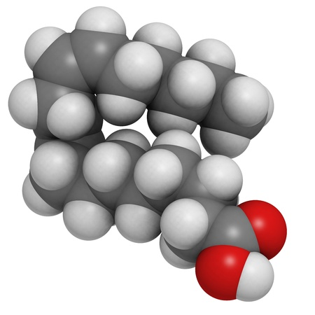 unsaturated: Omega-6 unsaturated fatty acid (linoleic acid, LA), molecular model. Atoms are represented as spheres with conventional color coding: hydrogen (white), carbon (grey), oxygen (red)