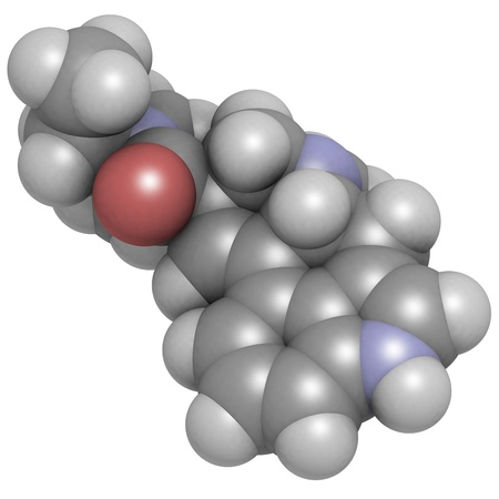 Lysergic acid diethylamide (LSD) hallucinogenic drug, molecular model. Atoms are represented as spheres with conventional color coding: hydrogen (white), carbon (grey), oxygen (red), nitrogen (blue) photo