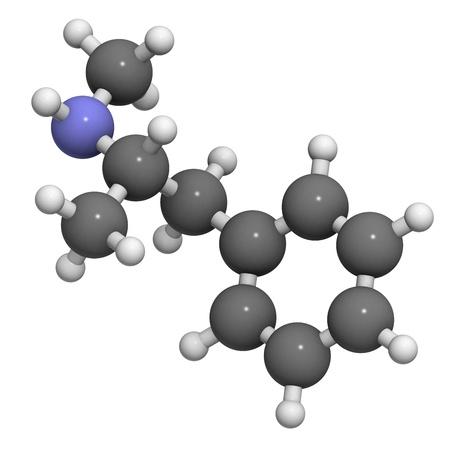 methamphetamine (crystal, meth) psychostimulant drug, molecular model. Atoms are represented as spheres with conventional color coding: hydrogen (white), carbon (grey), nitrogen (blue) Banco de Imagens