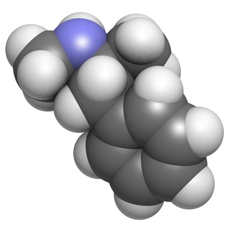 methamphetamine (crystal, meth) psychostimulant drug, molecular model. Atoms are represented as spheres with conventional color coding: hydrogen (white), carbon (grey), nitrogen (blue) Stock Photo - 18947435