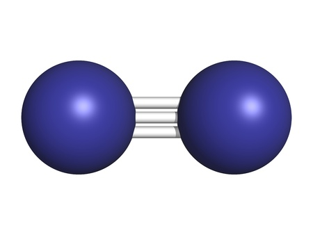 elemental: Elemental nitrogen (N2), molecular model. Nitrogen gas is the main component of the Earths atmosphere. Atoms are represented as spheres with conventional color coding: nitrogen (blue)