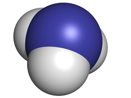 hydroxide: Ammonia (NH3), molecular model. Atoms are represented as spheres with conventional color coding: hydrogen (white), nitrogen (blue)