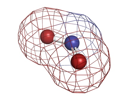 pollutant: Nitrogen dioxide (NO2, NOx) toxic gas and air pollutant, molecular model. Atoms are represented as spheres with conventional color coding: oxygen (red), nitrogen (blue) Stock Photo