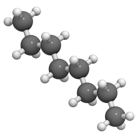 octane: Octane hydrocarbon, molecular model. Atoms are represented as spheres with conventional color coding: hydrogen (white), carbon (grey)