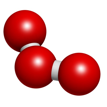 ozone: Ozone (trioxygen, O3) molecule, chemical structure. Atoms are represented as spheres with conventional color coding Stock Photo