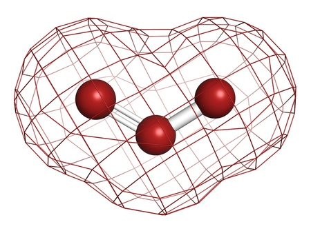 ózon: Az ózon (trioxygen, O3) molekula, kémiai szerkezete. Atomok képviseletében a szférák hagyományos színkódolásra Stock fotó