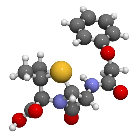 Penicillin V antibiotic molecule, chemical structure. Penicillin V or phenoxymethylpenici llin is used to treat bacterial infections. Atoms are represented as spheres with conventional color coding: hydrogen (white), carbon (grey), oxygen (red), nitrogen Stock Photo - 18947431