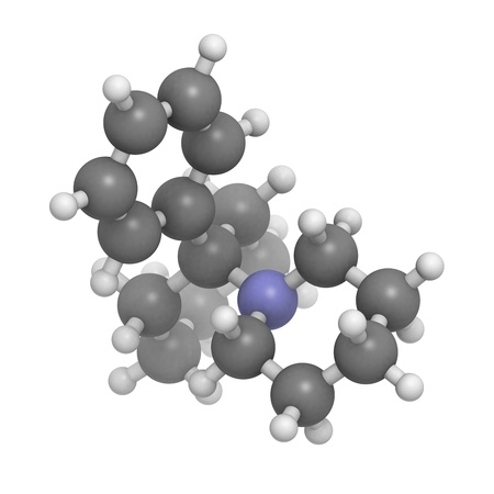 phencyclidine (PCP, angel dust) recreational drug, molecular model. Atoms are represented as spheres with conventional color coding: hydrogen (white), carbon (grey), nitrogen (blue) Stock Photo - 18947428