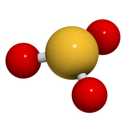 spoilage: Sulfite (sulphite) food and wine preservative, molecular model. Atoms are represented as spheres with conventional color coding: sulfur (yellow), oxygen (red)