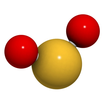 sulphur: Sulfur dioxide (sulphur dioxide, SO2) gas, molecular model. SO2 (E220) is also used in winemaking. Atoms are represented as spheres with conventional color coding: sulfur (yellow), oxygen (red)