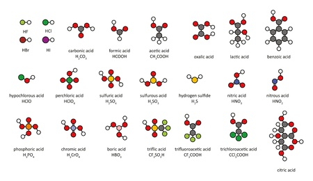 benzoic: Common acids, 2D chemical structures. Atoms are represented as conventionally color-coded circles.  Illustration