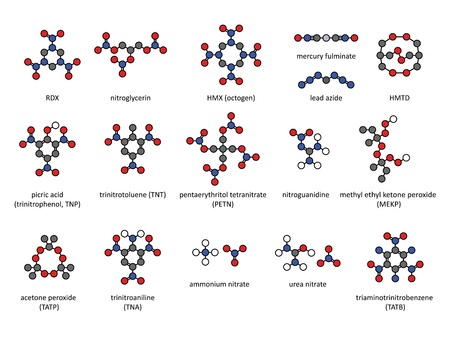 nitrate: Explosive compounds, 2D chemical structures (set). Atoms are represented as conventionally color-coded circles. Included are nitroglycerin, RDX, HMX, TATB, MEKP, TNT, PETN, ammonium nitrate, nitroguanidine, mercury fulminate, lead azide, acetone peroxide  Illustration