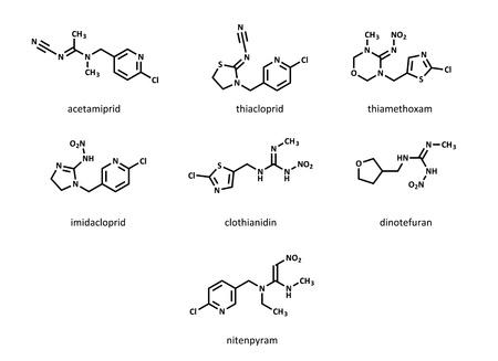 pesticida: Insecticidas neonicotinoides: acetamiprid, clotianidina, dinotefuran, imidacloprid, nitenpyram, tiacloprid, tiametoxam